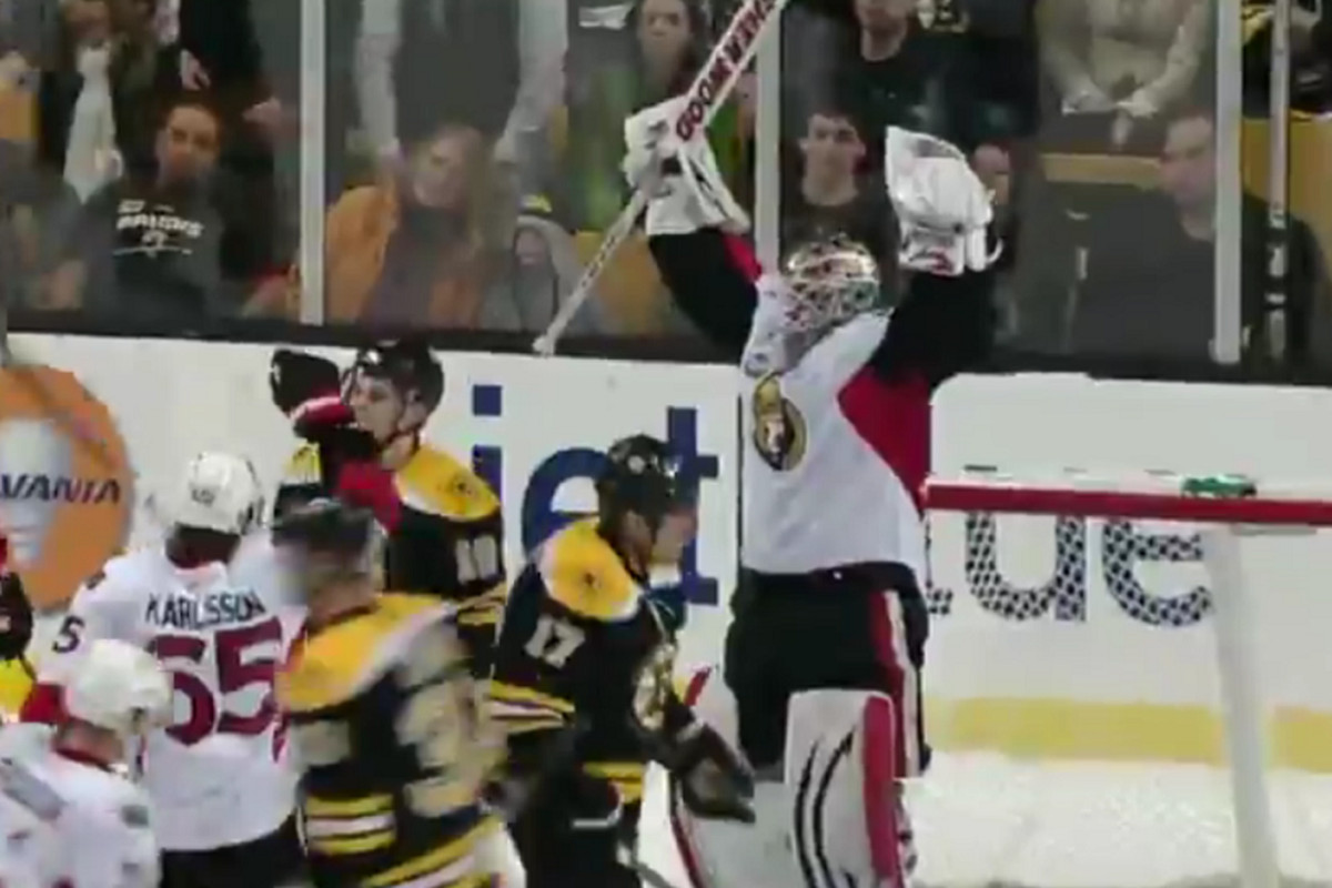 Robin Lehner is either celebrating his first NHL shut out or trying to make himself look big after hearing that this is the best way to handle a confrontation with a bear.