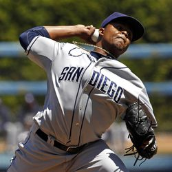 San Diego Padres starter Edinson Veloquez pitches to the Los Angeles Dodgers in the first inning of a baseball game in Los Angeles, Sunday, April 15, 2012. (AP Photo/Reed Saxon)