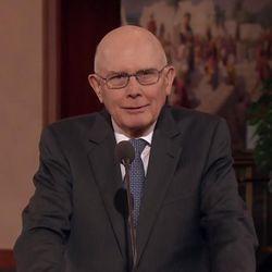 Elder Dallin H. Oaks of the Quorum of the Twelve Apostles speaks during a press conference on Jan. 27, 2015.