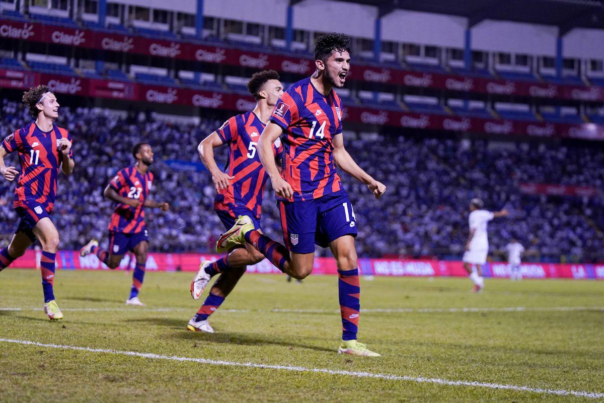Ricardo Pepi #14 of the United States scores a goal and celebrates during a game between Honduras and USMNT at Estadio Olímpico Metropolitano on September 8, 2021 in San Pedro Sula, Honduras.