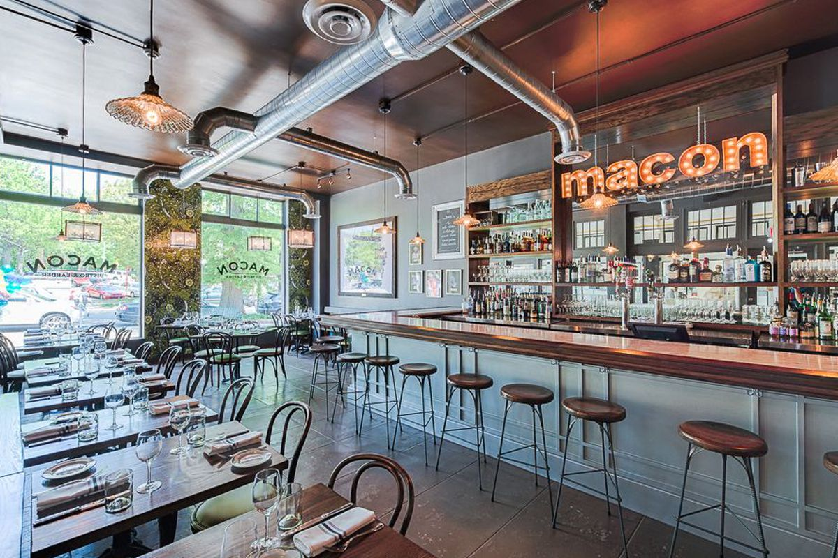 """<a href=""""http://dc.eater.com/archives/2014/05/14/inside-the-cozy-chic-macon-bistro.php"""">Macon Bistro, Washington, DC</a>."""