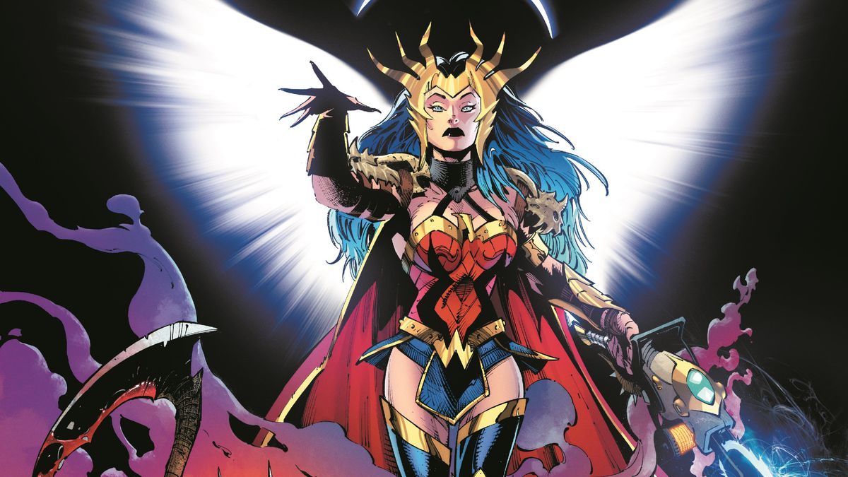 A crowned Wonder Woman splays spectral white wings, Batman brandishes a scythe, and Superman gets his own post apocalyptic look in promo art for Dark Nights: Death Metal, DC Comics