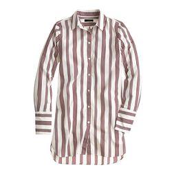 "J. Crew 'Endless Stripe' shirt in burgundy, <a href=""https://www.jcrew.com/womens_category/shirtsandtops/classicshirts/PRDOVR~B6050/B6050.jsp"">$78</a>"