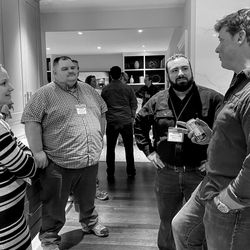 Pictured chatting with This Old House host Kevin O'Connor is Andrew Witkowski from Latham, NY, educator James Connelly and his wife Melissa from Oxford, CT.
