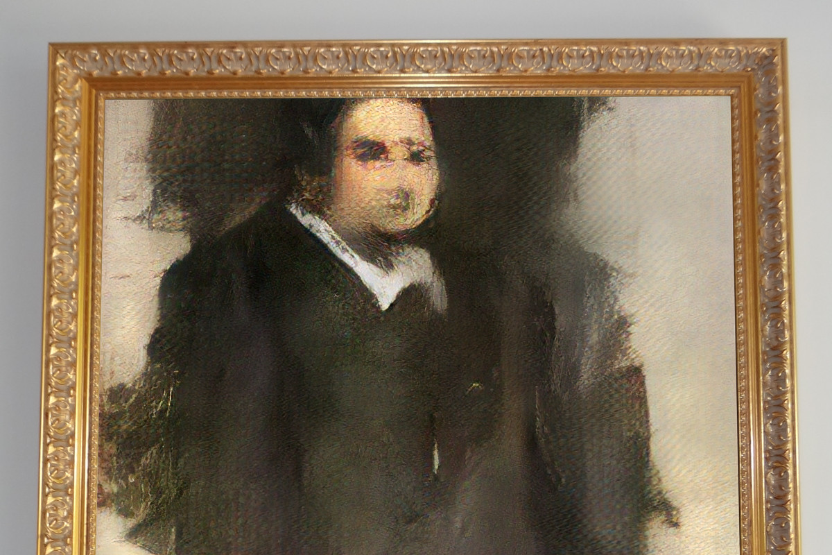 A portrait of a man that resembles an impressionistic painting but was created by artificial intelligence