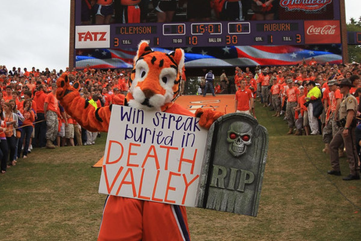 CLEMSON, SC - SEPTEMBER 17:  The mascot of the Clemson Tigers cheers on against the Auburn Tigers at Memorial Stadium on September 17, 2011 in Clemson, South Carolina.  (Photo by Streeter Lecka/Getty Images)