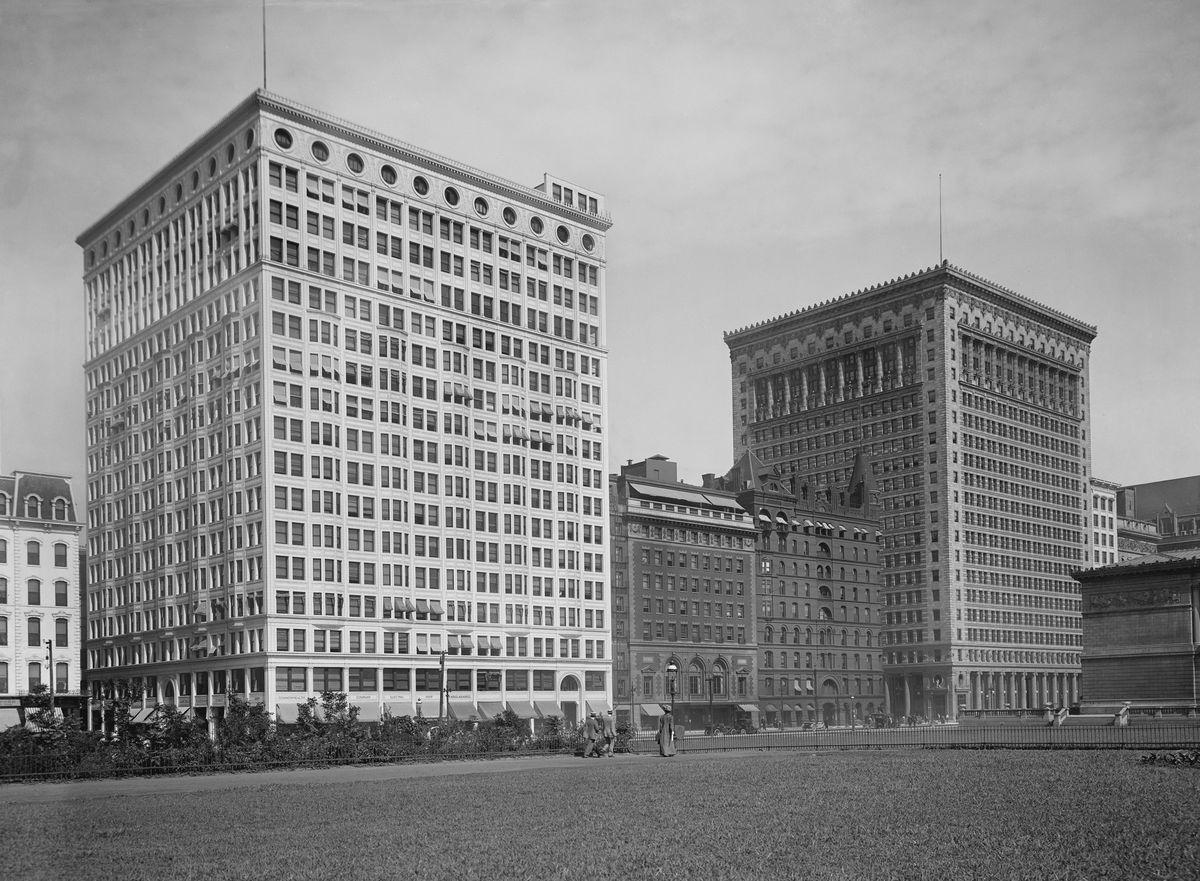 Railway Exchange and Gas Buildings., Chicago, Illinois, USA, Detroit Publishing Company, 1910