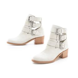 """<b>Plomo</b> Vir Suede Open Booties in Off White, $365 at <a href""""http://www.shopbop.com/vir-open-low-heel-bootie/vp/v=1/1557485133.htm?folderID=2534374302112431&fm=other-shopbysize&colorId=13194"""">Shopbop</a>"""