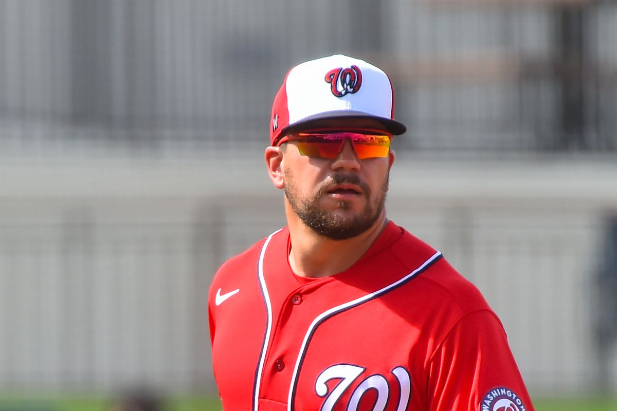 Kyle Schwarber #12 of the Washington Nationals in action during the spring training game against the Miami Marlins at The Ballpark of The Palm Beaches on March 3, 2021 in West Palm Beach, Florida.