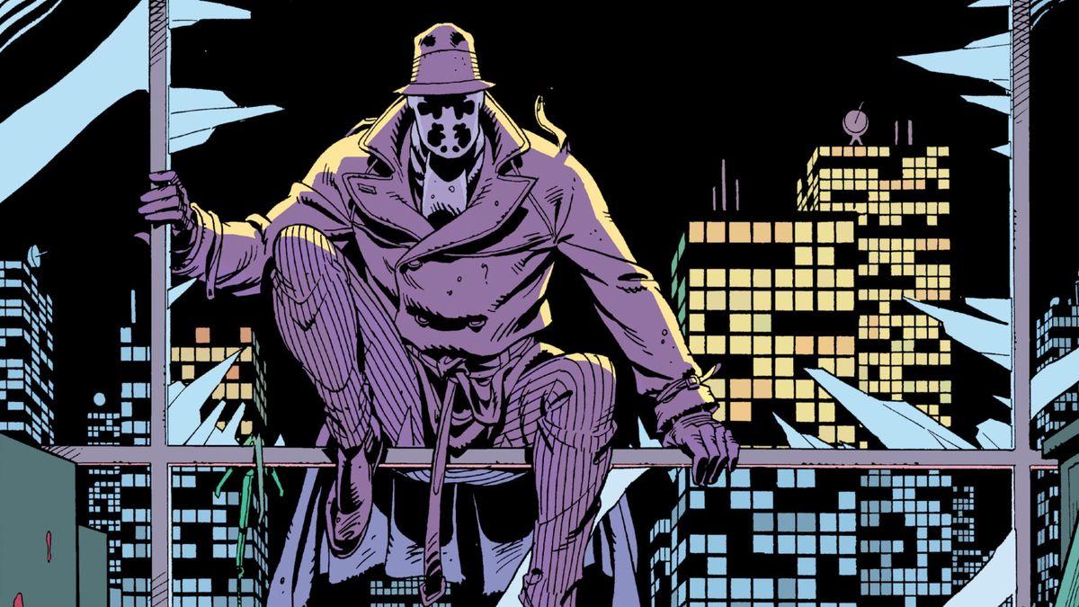 Rorschach climbs through a broken window in Watchmen, DC Comics (1986).