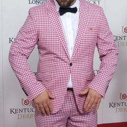 Joey Fatone fashioned a suit out of a tablecloth from a country kitchen.