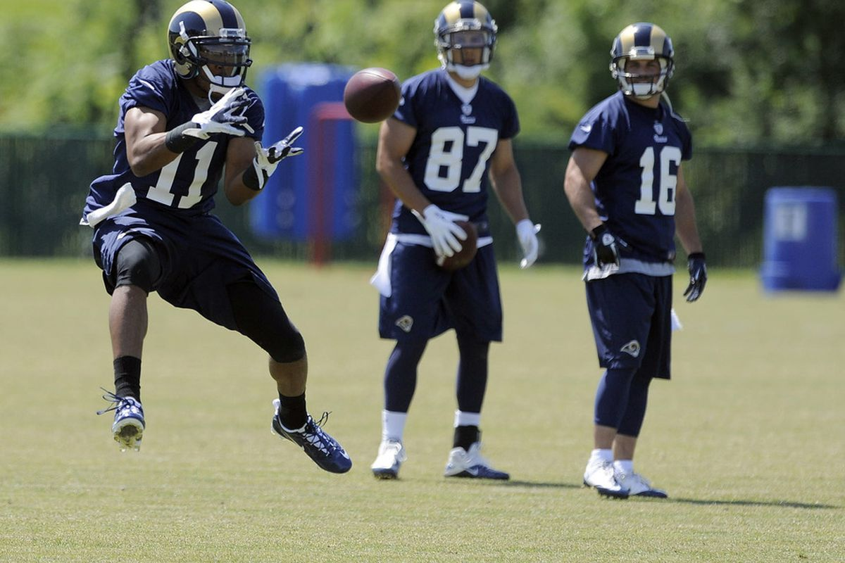 May 23, 2012; St. Louis, MO, USA; St. Louis Rams wide receiver Brandon Gibson (11) catches a ball during an OTA at ContinuityX Training Center. Mandatory Credit: Jeff Curry-US PRESSWIRE