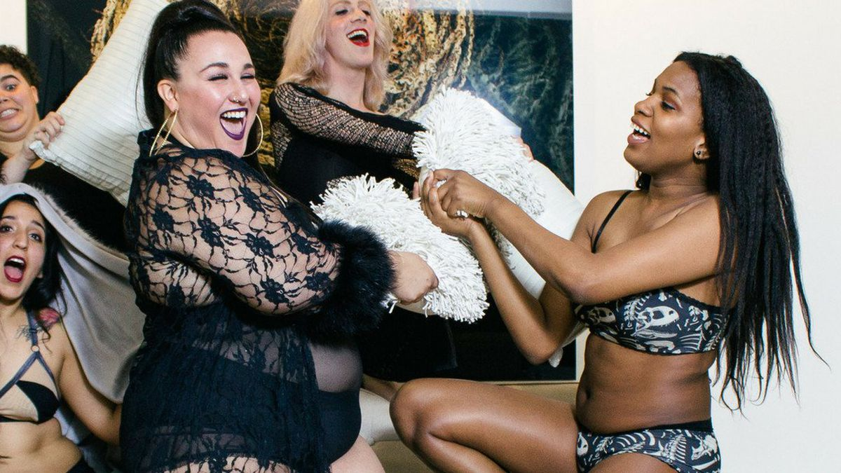 A lingerie ad for Bluestockings Boutique