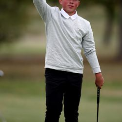 Lone Peak's Kihei Akina celebrates the win in the 6A boys state tournament at Davis Park Golf Course in Kaysville on Tuesday, Oct. 5, 2021.