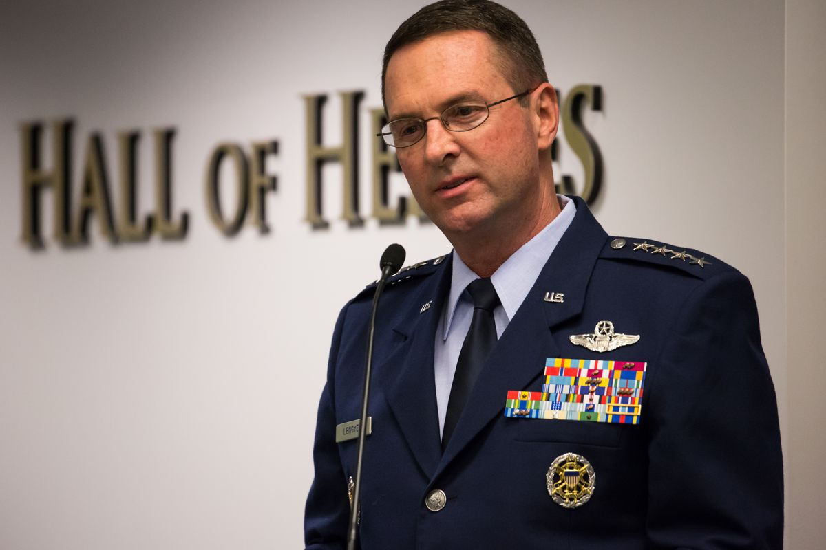 Air Force Gen. Joseph Lengyel told reporters on Friday that he's not sure what causes a changing climate on October 12, 2018.