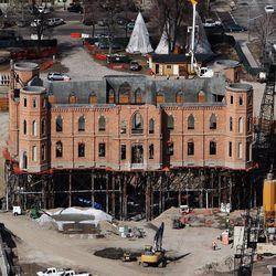 Construction continues on the Provo City Center Temple, in this photo taken Tuesday, March 12.