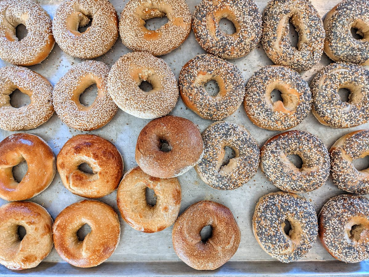 A baking tray filled with plain and everything bagels