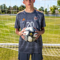 Skyridgemidfielder Austin Wallace, this year's Deseret News Mr. Soccer, poses for a photo at Skyridge High School in Lehi on June 14, 2021.