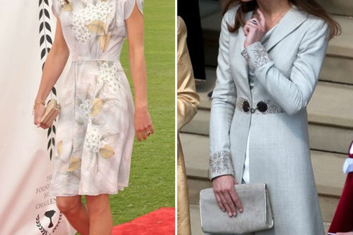 Two prim looks by Katherine Hooker as modeled by KMids, via Getty