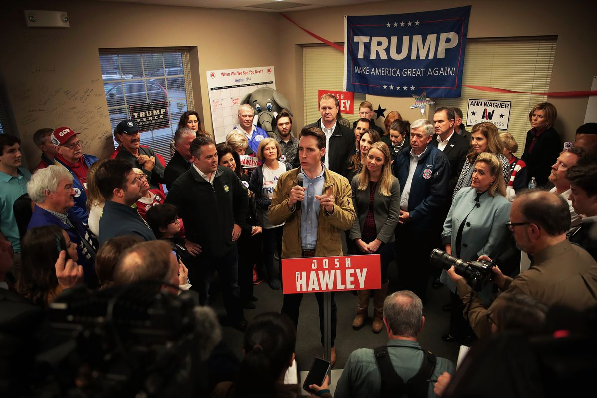 Josh Hawley speaks to supporters during a campaign stop.
