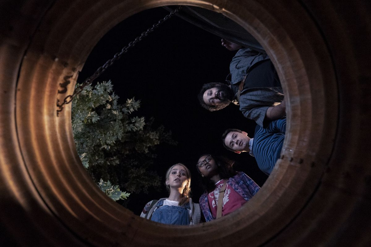 """Jessica Rothe (from left), Ashleigh LaThrop, Dan Byrd and Desmin Borges play chatroom friends whose first meeting turns deadly in """"Utopia."""""""