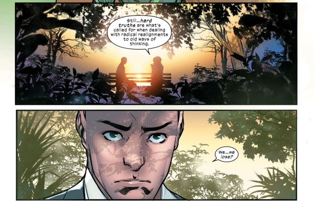 """""""We... we lose?"""" Professor X reacts to knowledge of Moira's lives, in Powers of X #6, Marvel Comics."""