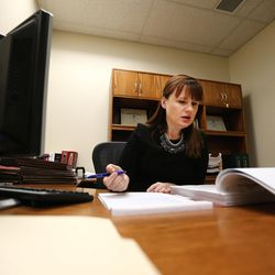 Patricia Abbott Lammi gets to work at the Utah Health Department on Tuesday, May 2, 2017. Patricia and her husband Phillip work to juggle their work schedules to make things work.