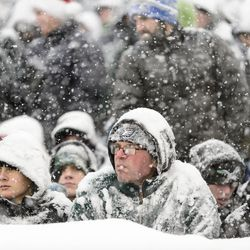Fans in Philly are covered with snow during Sunday's game