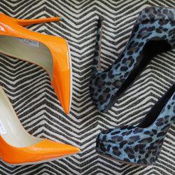 "Jimmy Choo neon heels, $750; Azzedine Alaïa suede leopard pumps, $1,450. ""I'm not afraid of color."""