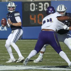 Brigham Young Cougars quarterback Zach Wilson looks for a receiver during a game against North Alabama in Provo on Saturday, Nov. 21, 2020.