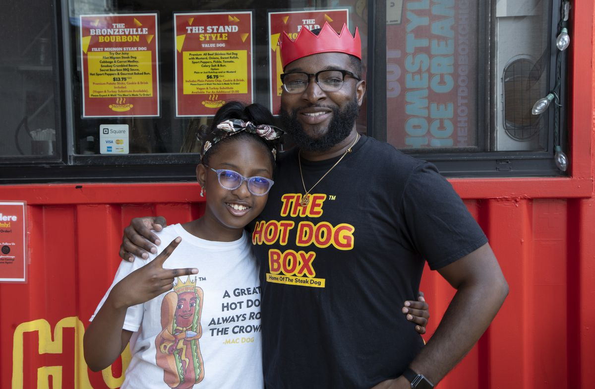 Bobby Morelli, Founder of The Hot Dog Box, and his daughter Brooklyn.