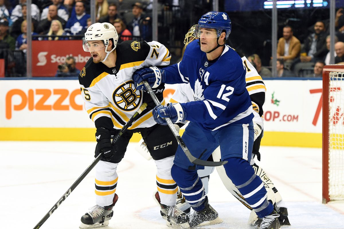 Nov 26, 2018; Toronto, Ontario, CAN; Toronto Maple Leafs forward Patrick Marleau (12) battles for position with Boston Bruins defenceman Connor Clifton (75) in the second period at Scotiabank Arena. Mandatory Credit: Dan Hamilton