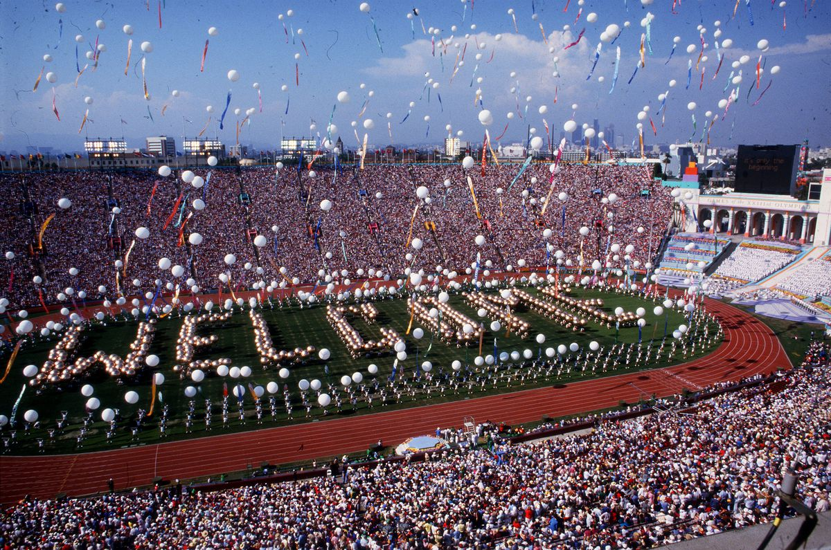 OLY LEGACY – 7/28/1984 – Scene at the Coliseum in Los Angeles during opening ceremonies of the Olymp