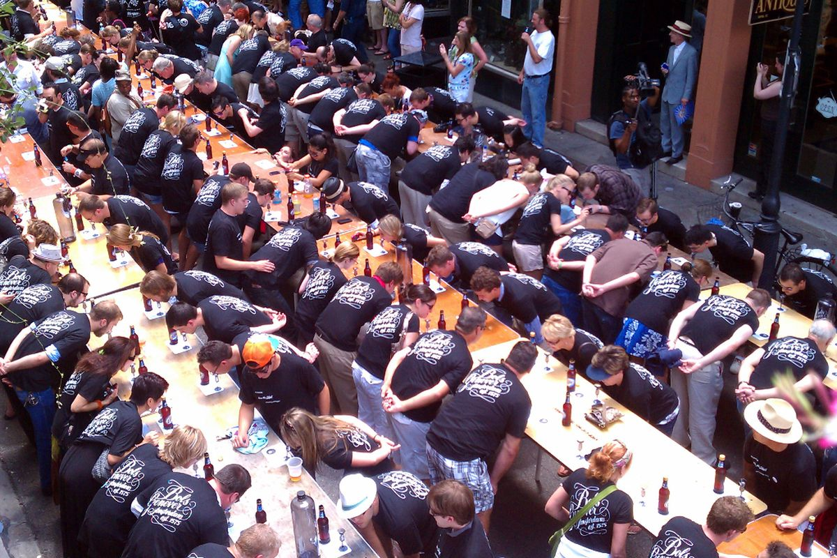 The world's largest Bols Genever Slurp at the 2011 Tales of the Cocktail. Click to enlarge.