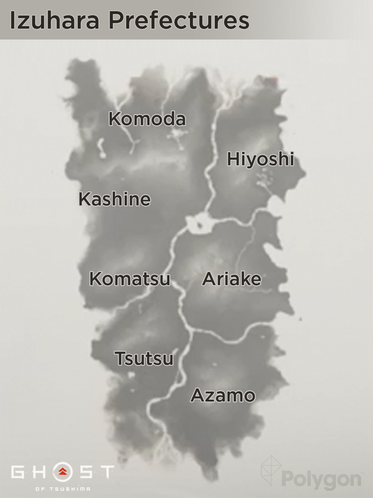 Ghost of Tsushima Izuhara prefectures map