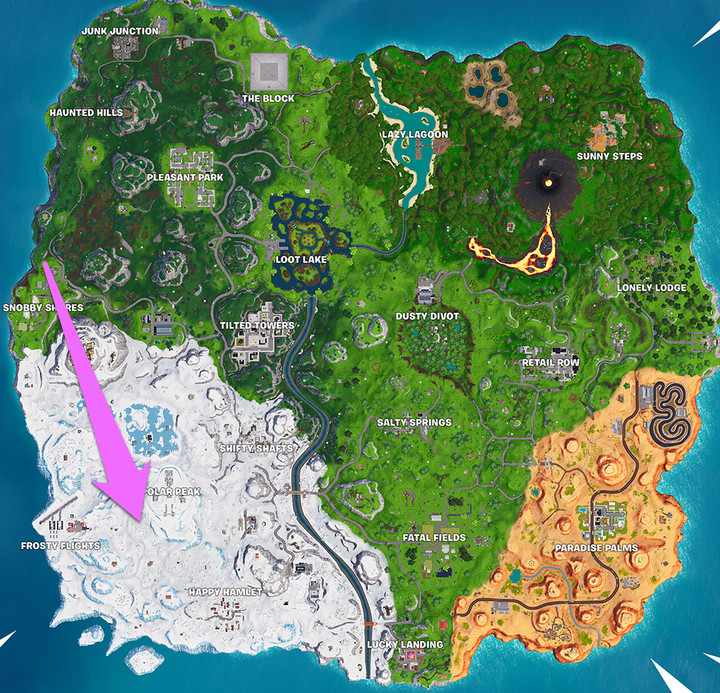 FortniteSearch where the magnifying glass sits on the Treasure Map loading map challenge