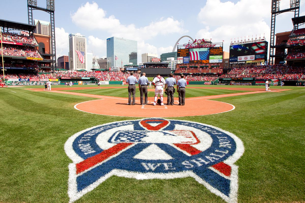 ST. LOUIS, MO - SEPTEMBER 11: A general view during the National Anthem prior to the game between the Atlanta Braves and St. Louis Cardinals at Busch Stadium on September 11, 2011 in St. Louis, Missouri. (Photo by David Welker/Getty Images)