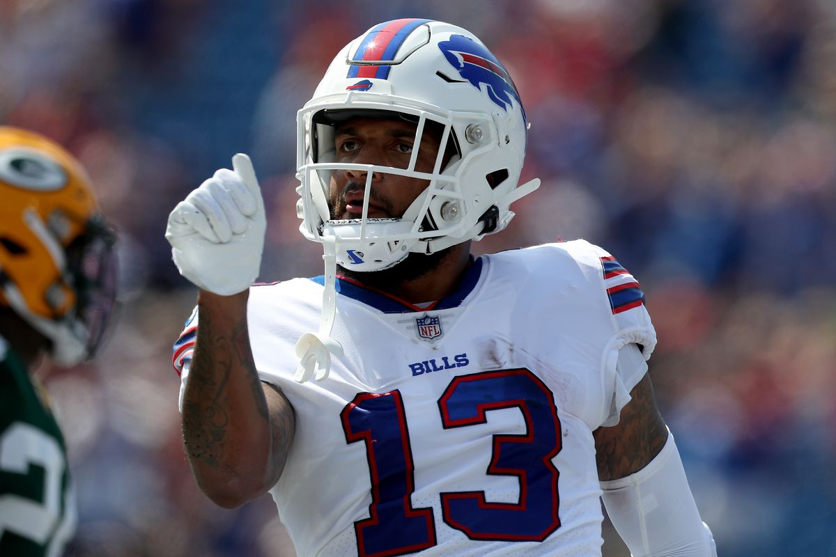 Gabriel Davis #13 of the Buffalo Bills celebrates after scoring a touchdown during the first quarter against the Green Bay Packers at Highmark Stadium on August 28, 2021 in Orchard Park, New York.