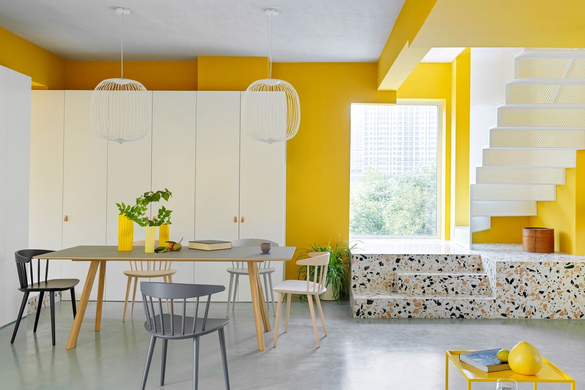 Renovated apartment shows off yellow decor ideas - Curbed