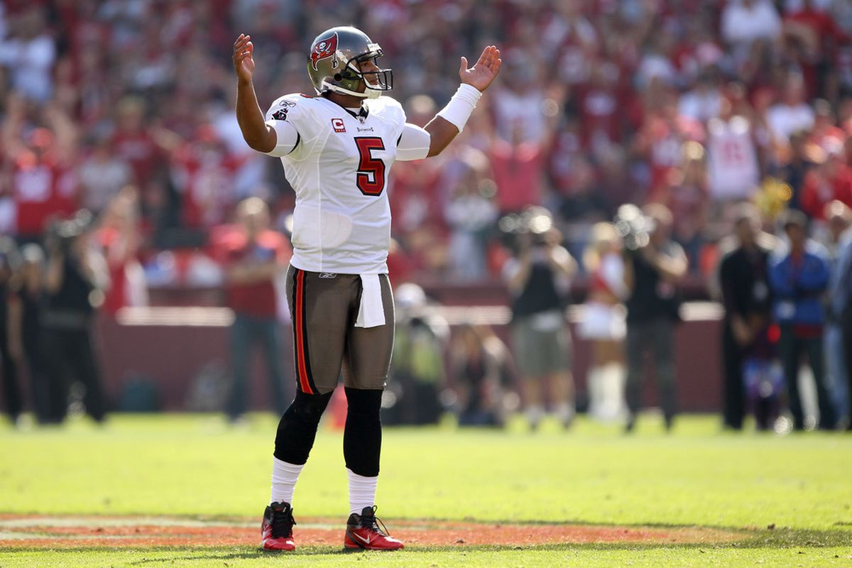 SAN FRANCISCO, CA - OCTOBER 09:  Josh Freeman #5 of the Tampa Bay Buccaneers reacts during their loss to the San Francisco 49ers at Candlestick Park on October 9, 2011 in San Francisco, California.  (Photo by Ezra Shaw/Getty Images)