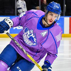 Syracuse Crunch Michael Bournival (78) wearing the special Hocke Fights Cancer jersey against the Laval Rocket in American Hockey League (AHL) action at the War Memorial Arena in Syracuse, New York on Saturday, November 17, 2018. Syracuse won 6-4.