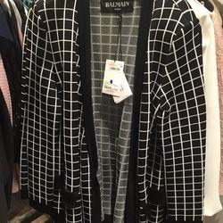 Balmain jacket with tie, $1,104