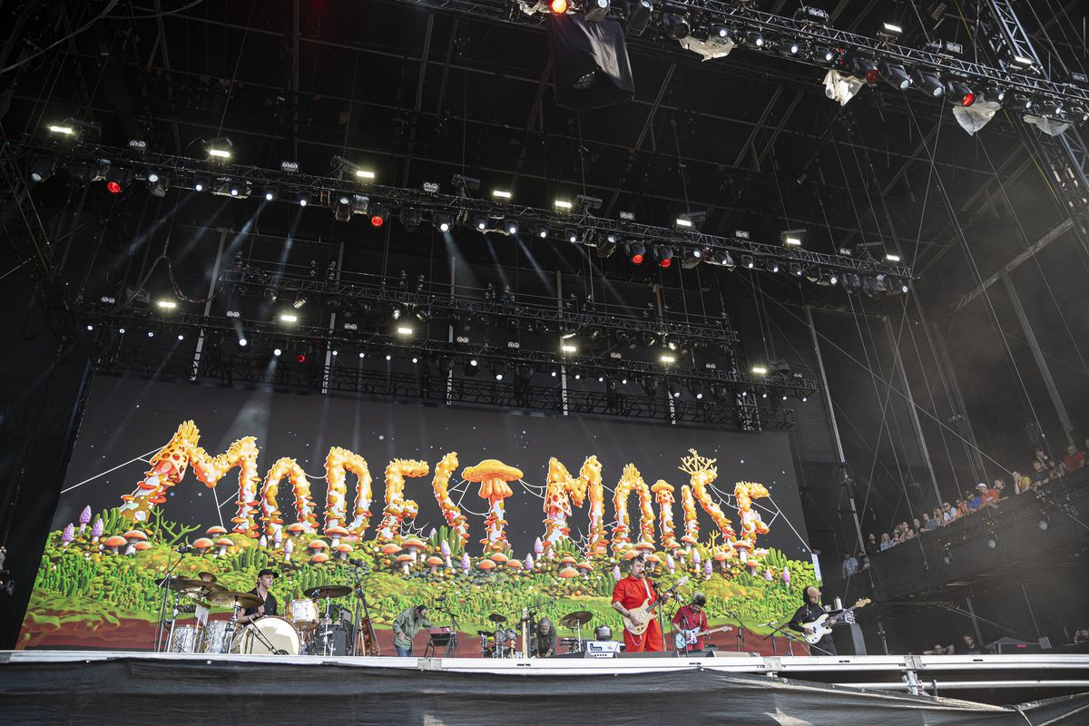 Modest Mouse performs on day four of Lollapalooza.