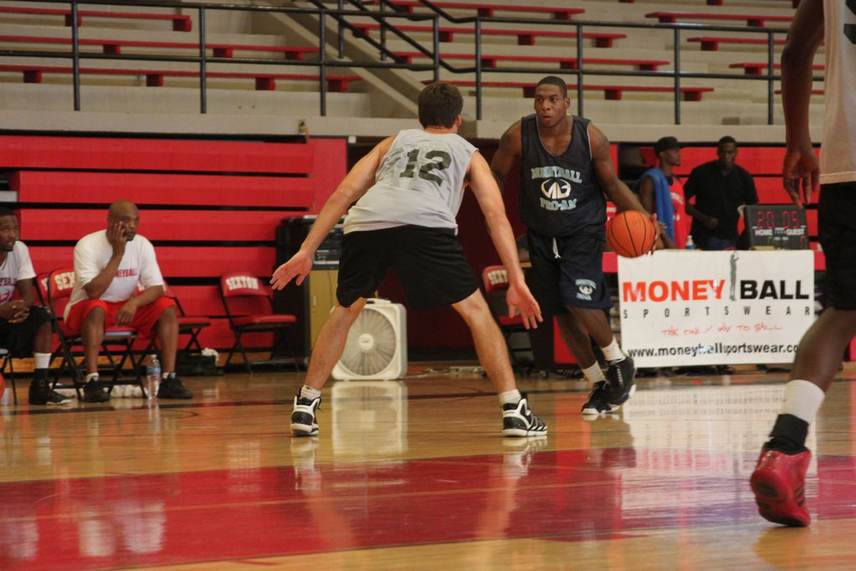 Branden Dawson drives towards the basket during the Moneyball Pro-Am at Lansing Sexton July 10. (Photo: Patrick Hayes)
