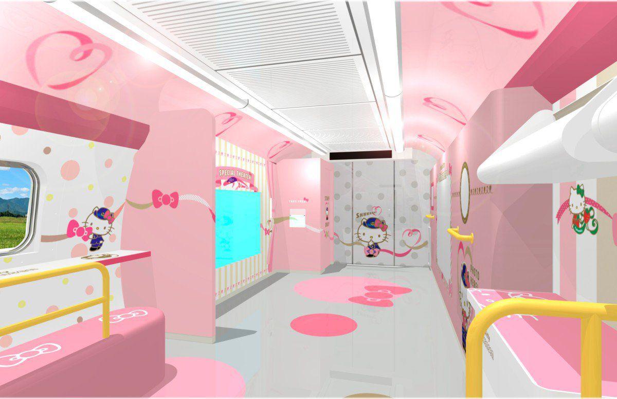 Rendering of pink interior of train