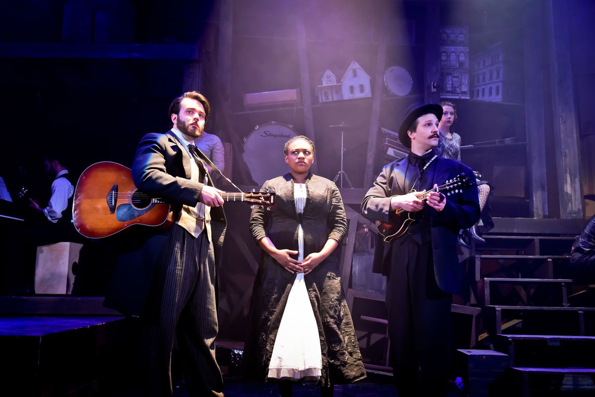 """James Smart (from left), LaKecia Harris and Mike Mazzocca with the cast of Underscore Theatre's world premiere of """"Haymarket: The Anarchist's Songbook."""" (Photo: Evan Hanover)"""