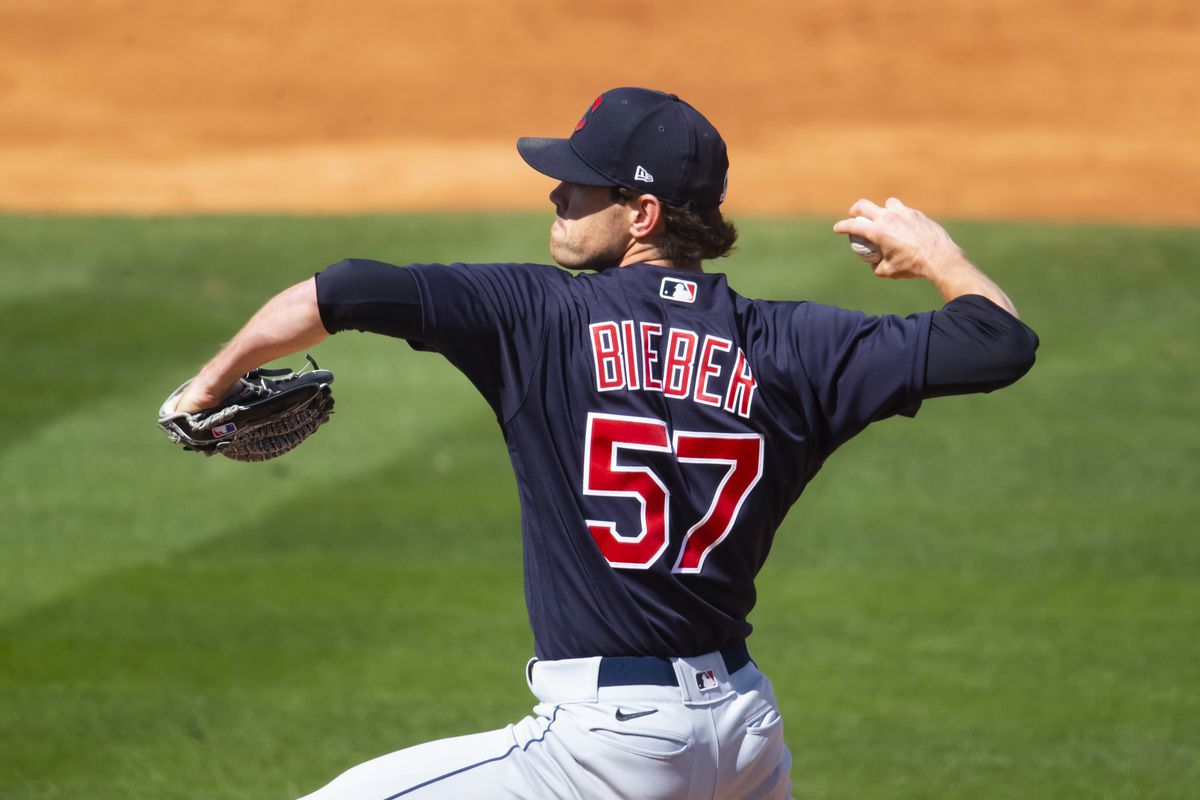 Cleveland Indians pitcher Shane Bieber against the Los Angeles Angels during a Spring Training game at Tempe Diablo Stadium.