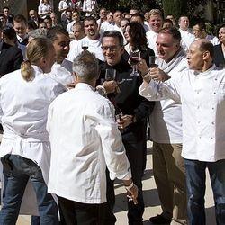 Chefs toast their success.
