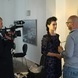 Interview for Italian TV before getting ready for the L'Oreal party.