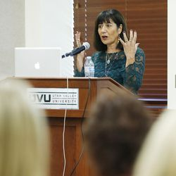 Samira Harnish speaks during Women of the Mountains conference at Utah Valley University in Orem Wednesday, Oct. 7, 2015.